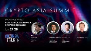 crypto Asia summit,How to build a impact crypto Exchange, Sonny: TokenPost, hern Chung: Senior Director of Global Business at Huobi Group - Lennix Lai: Financial Market director of Okex - Nimrod Leave: CEO of Simplex